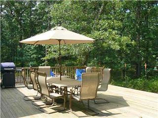Vineyard Haven house photo - Huge back deck with BBQ, outdoor shower and dining area
