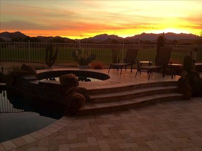 Peaceful Sunrise View from the Travertine deck.  Panoramic views 24 hrs a day