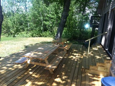 Back porch with picnic tables