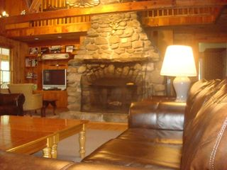 Raymond lodge photo - More light shows off the massive stone fireplace.
