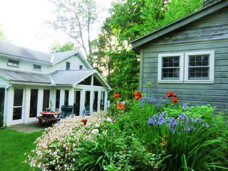 Great Barrington house photo - Large porch and deck of main house, gardens and guest house