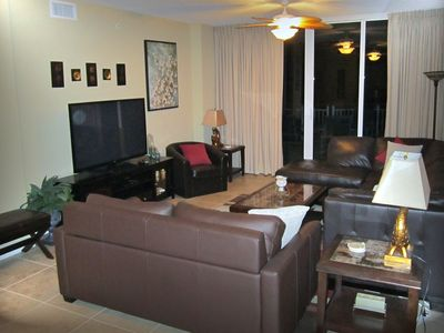 Navarre Beach condo rental - 60' flat screen TV equipped with DVD player and cable for the family to enjoy