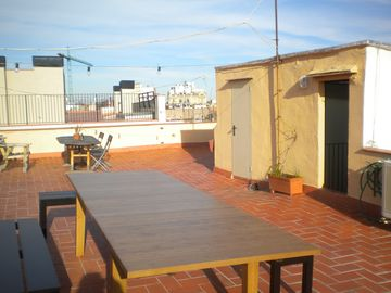 roof terrace with new table