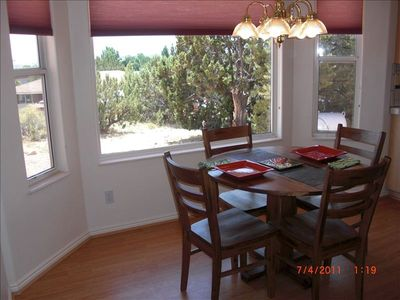 Breakfast Nook with Bay Window views to North Rim of Grand Canyon
