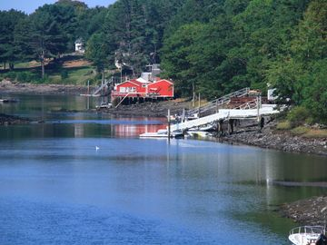 Chauncey Creek w/ our dock & Lobster Pier Restaurant (low tide)