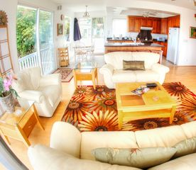 Kailua house photo - Bright, airy living room with leather furniture