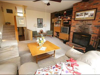 Stowe townhome rental - Spacious Living Room Includes a Wood-Burning Fireplace