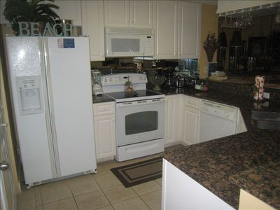The kitchen has all the comforts of home, including a blender!