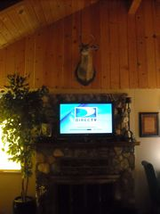 Big Bear Lake cabin photo - Direct TV (Flat Screen TV) - Wood burning Fireplace. Cabin also has WiFi