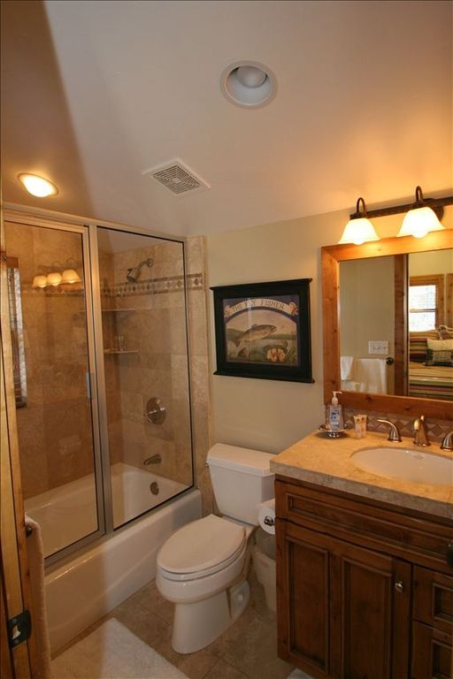 Guest Suite Private Bathroom with Vanity, Shower and Toilet