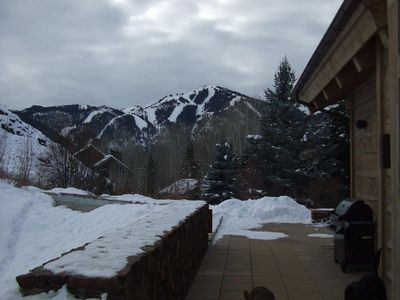 View of baldy from hot tub and deck