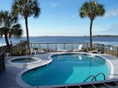 Pool & Hot Tub overlooking the Pier; Dock and Gulf