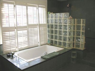 Jacuzzi tub with adjoining large walk-in shower