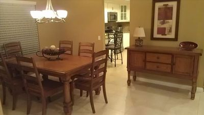 Large dining room just off kitchen.
