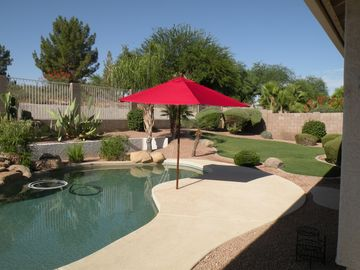 Chandler house rental - Pool and waterfall in private backyard overlooking beautiful, common area.