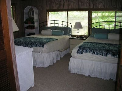 First Floor Bedroom Includes Two Queen-Sized Beds.  This Room Sleeps 4.