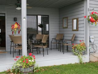 Moneta condo photo - Deck area with patio table and seating for six...can't beat the view from here!