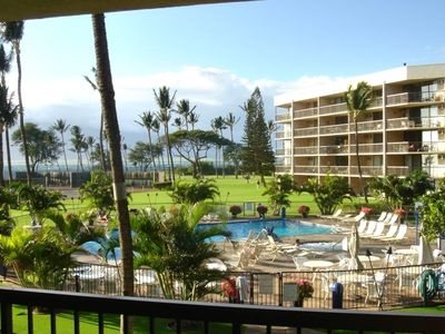 Pool view from the lanai of B-218