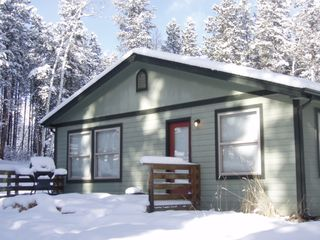 Evergreen house photo - The Wilderness Cabin in Beautiful Whispering Winter-We Plow the Snow-You Enjoy .