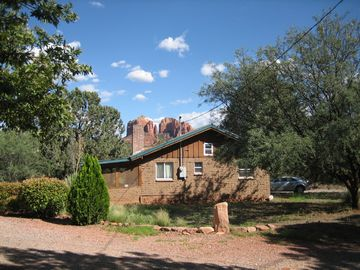 Sedona cabin rental - Cabin on 1/3 wooded acre. FULL View of Cathedral Rock, major Red Rock vortex!