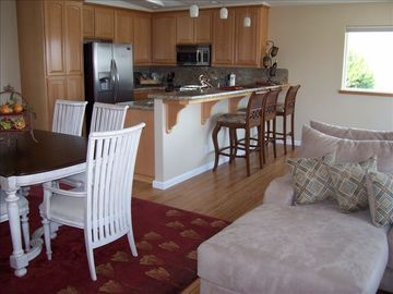 Morro Bay house rental - Living Area and Kitchen area, views of the Coast, Rock