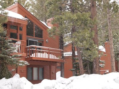 Mammoth Lakes townhome rental - Front of the townhouse, after a big dump of snow!