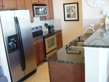 Kitchen--Stainless appliances and granite countert