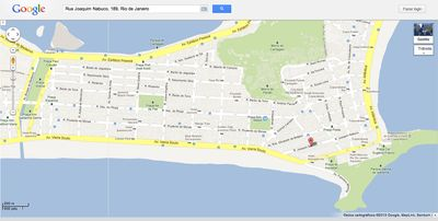 The location of the apartment, with Ipanema neighborhood, on google maps.
