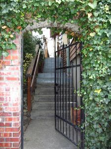 Wrought Iron Gate Entry to Front Door