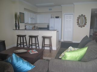 Tidewater Beach Resort condo photo - Kitchen and Living Room Areas