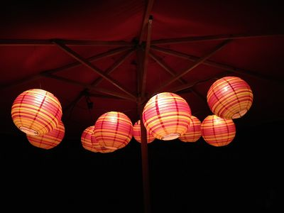 Lanterns add nice ambience on front patio. Music