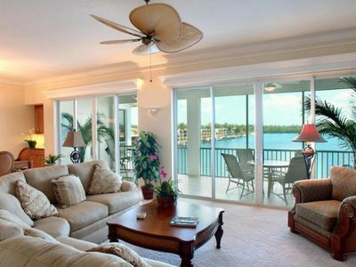 Huge great room overlooking ocean and harbor with attached screened in terrace.