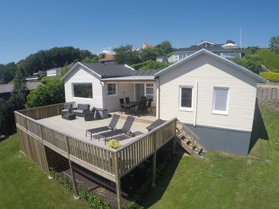 Family friendly holiday house with panoramic Mehresüberblick over Aabenraa Fjord