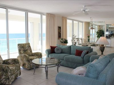Oceania Destin condo rental - Living room, master bedroom and 40 foot balcony overlook the gulf