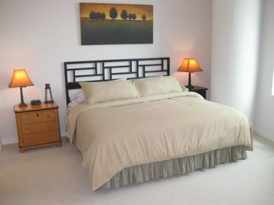 Master suite features luxurious  king size bed