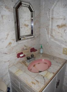 Cream Marble Bath with Shower and Tub