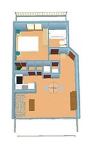Layout of condo for 1 bdrm unit
