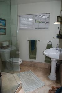 Pedestal Sink and Indoor glass shower