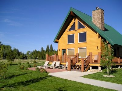 West Yellowstone house rental - 104 Mule Deer, front of home, patio and deck