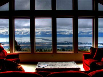 Homer house rental - Panoramic view from living room at the upper level unit