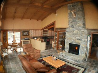 Maggie Valley estate photo - Great room two sided fireplace