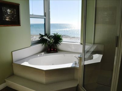 Master Bath has a Jacuzzi Tub a Large Shower and a Great Beach View