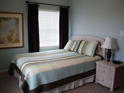 Northeast bedroom with queen-size bed