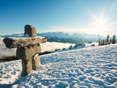 Blue Sky Stone Man in Whistler, British Columbia