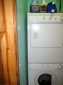 Washer/dryer and laundry supplies in the unit!