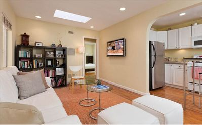 Santa Monica house rental - Our bright and sunny living room with skylights