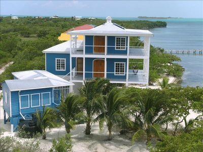 Caye Caulker house rental - Looking South, Caye Chapel is in the background