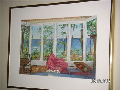 painting of our family room view