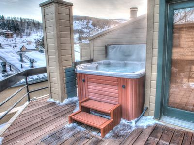 Park City condo rental - Hot Tub Deck with Mountain Views