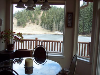 Breakfast area looking out over Trout Pond